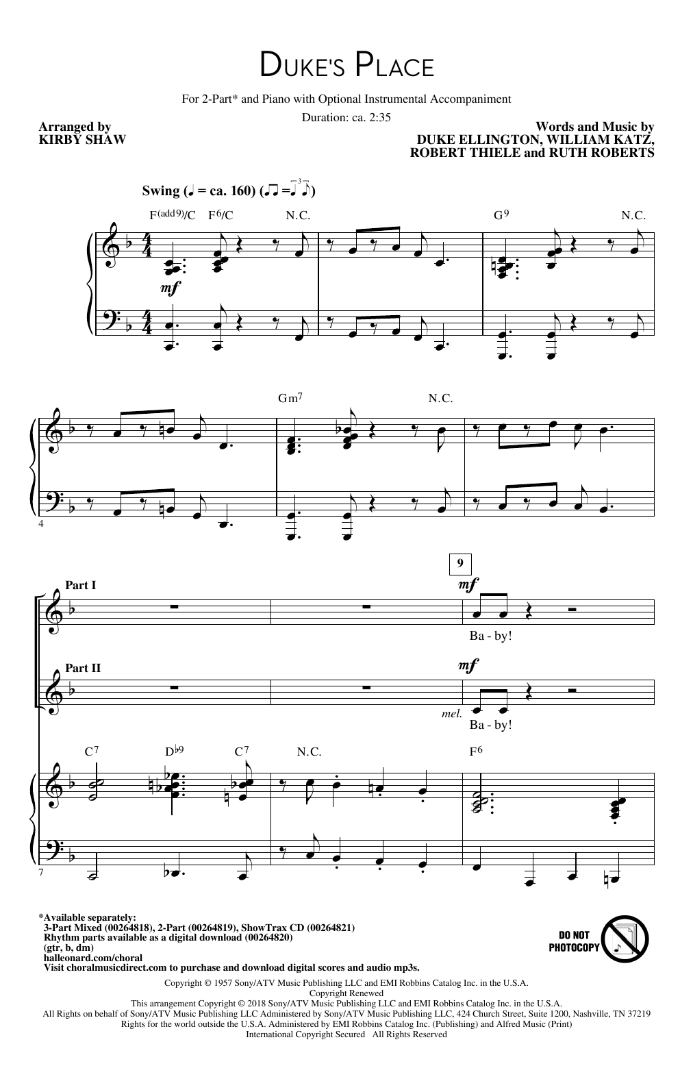 Duke's Place Sheet Music