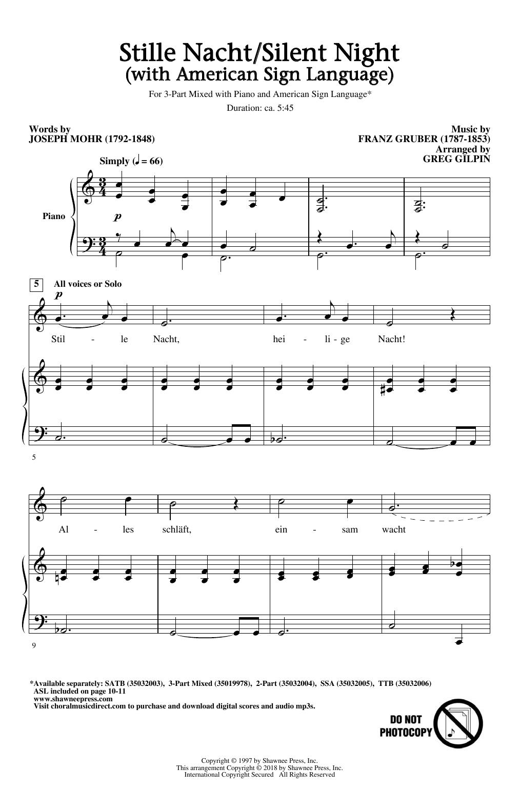 Stille Nacht/Silent Night (With American Sign Language) (3-Part Mixed Choir)