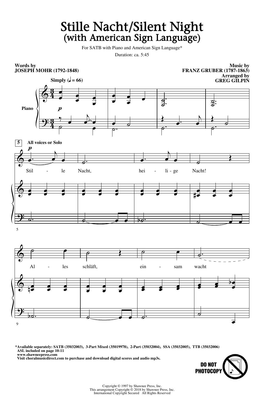 Stille Nacht/Silent Night (With American Sign Language) (SATB Choir)