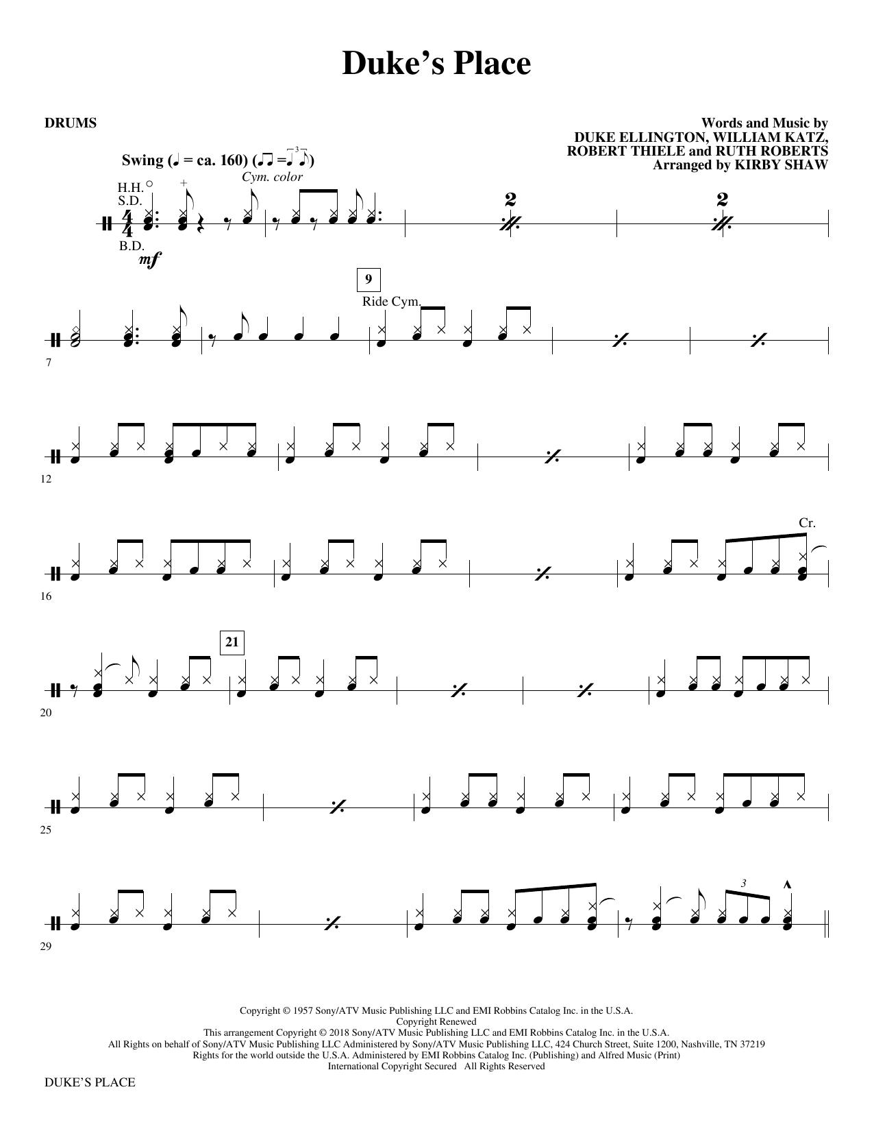 Duke's Place - Drums (Choir Instrumental Pak)