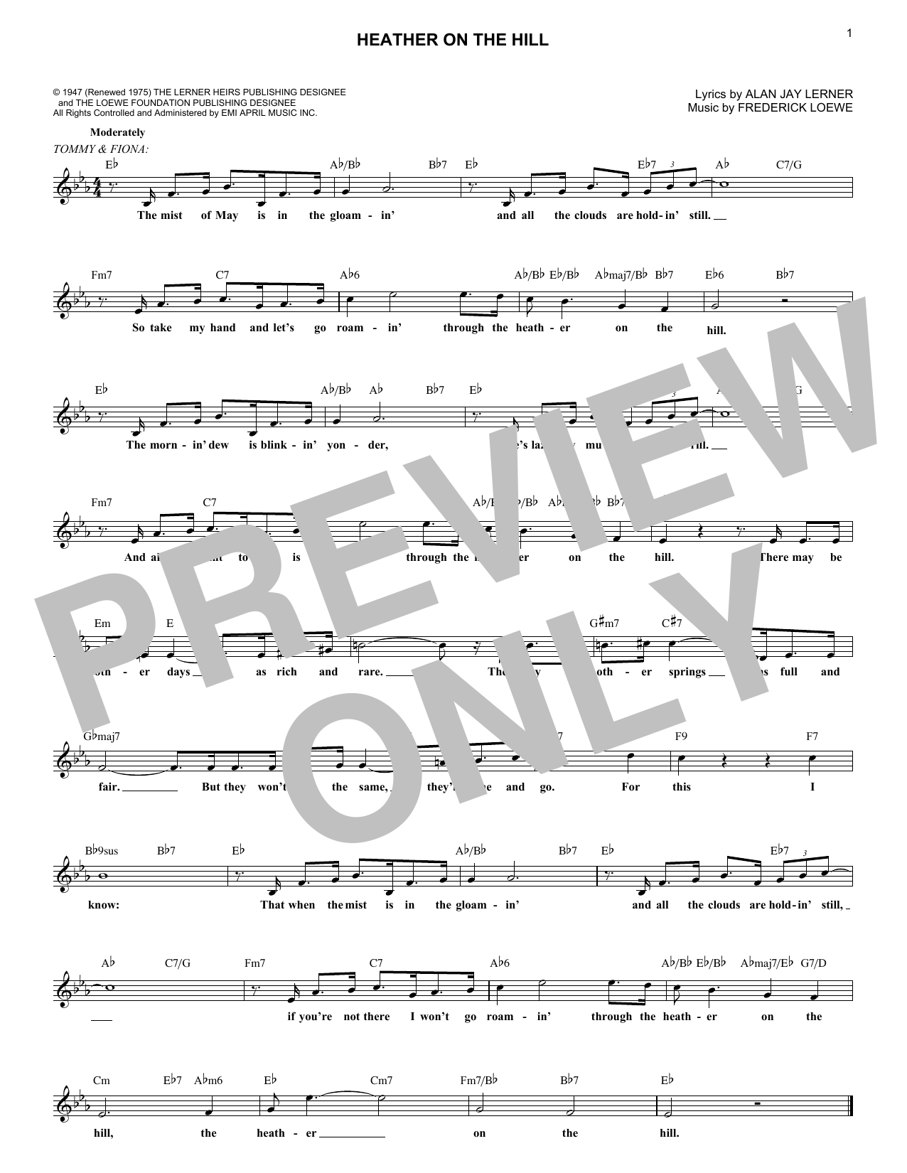 Heather On The Hill (Lead Sheet / Fake Book)