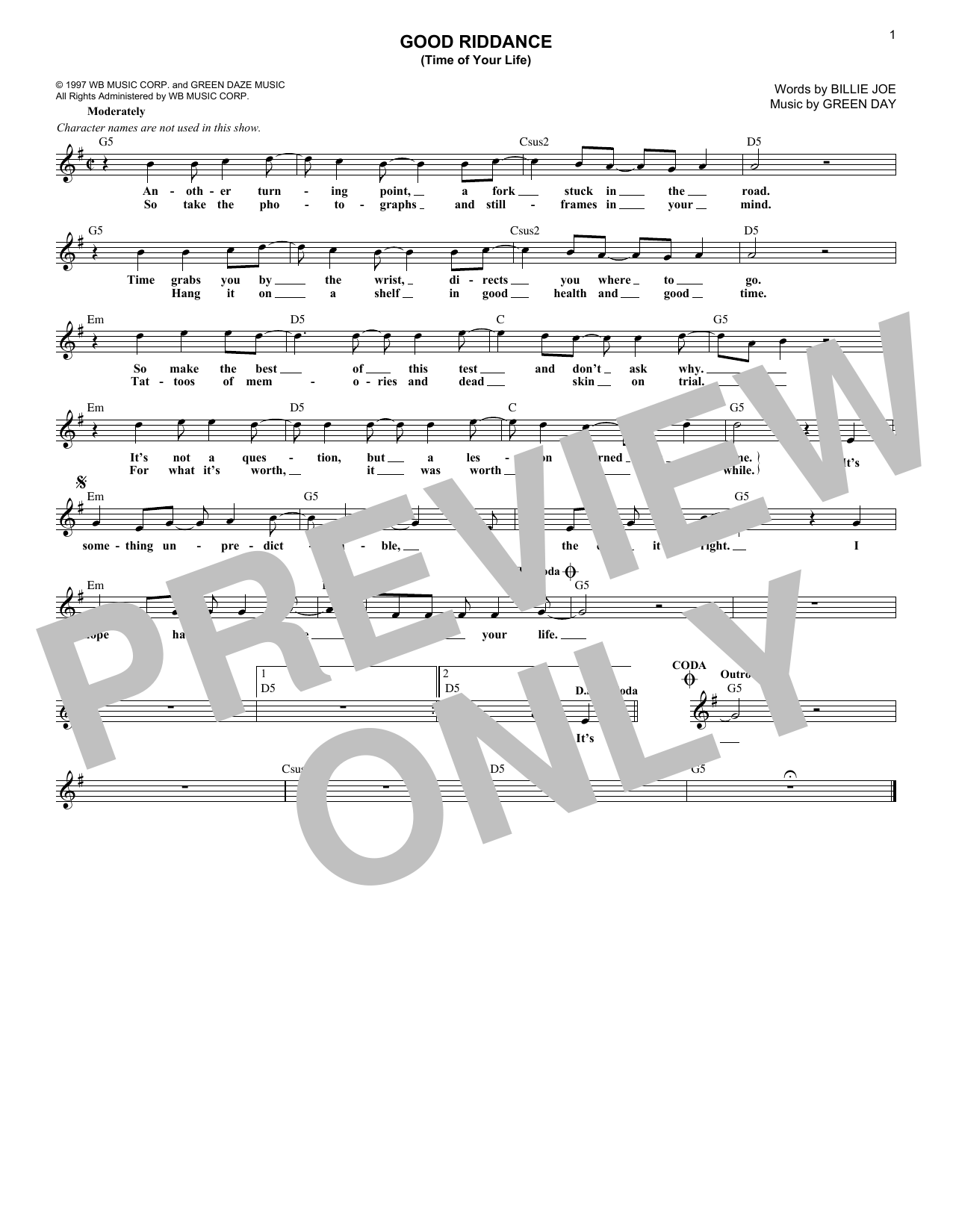 Good Riddance (Time Of Your Life) (Lead Sheet / Fake Book)
