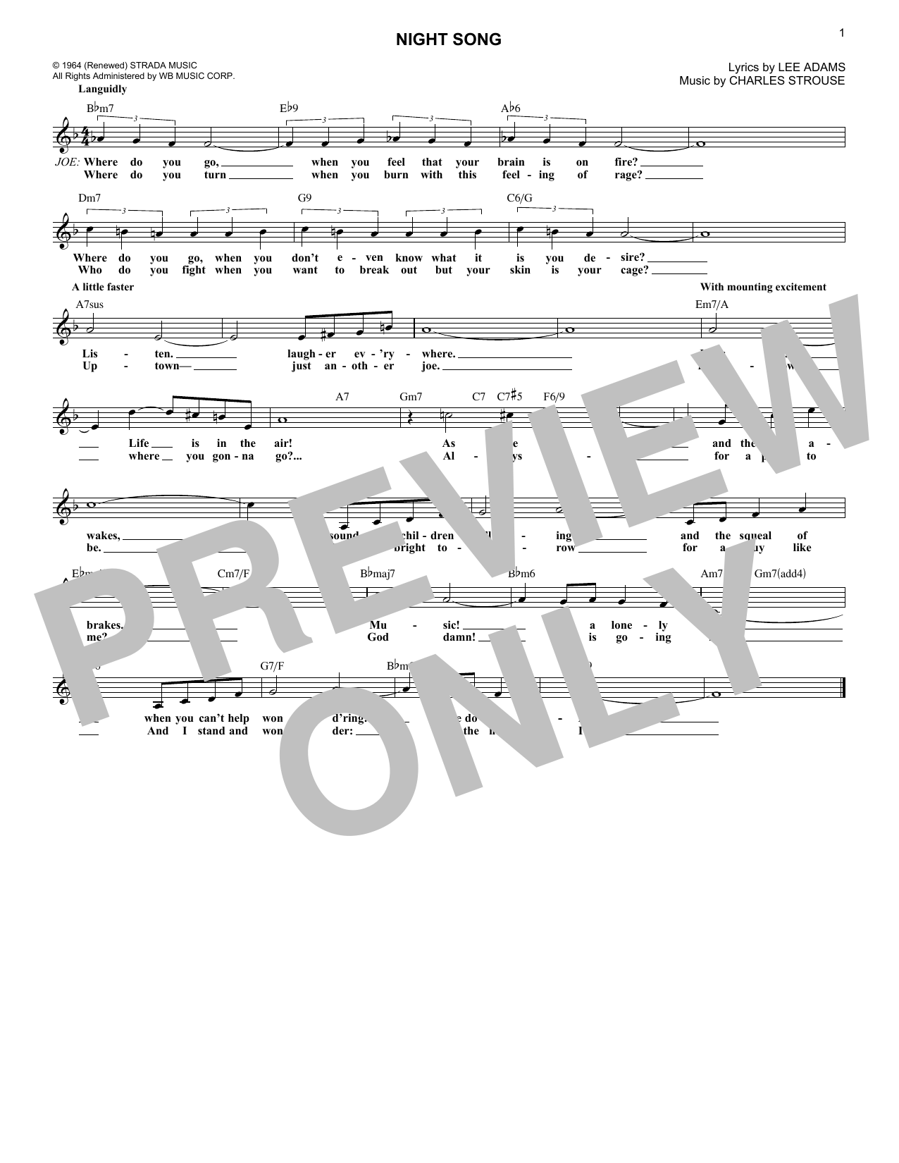 Night Song (from Golden Boy) (Lead Sheet / Fake Book)
