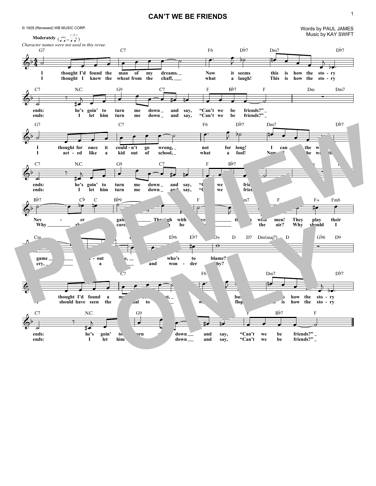 Can't We Be Friends (Lead Sheet / Fake Book)