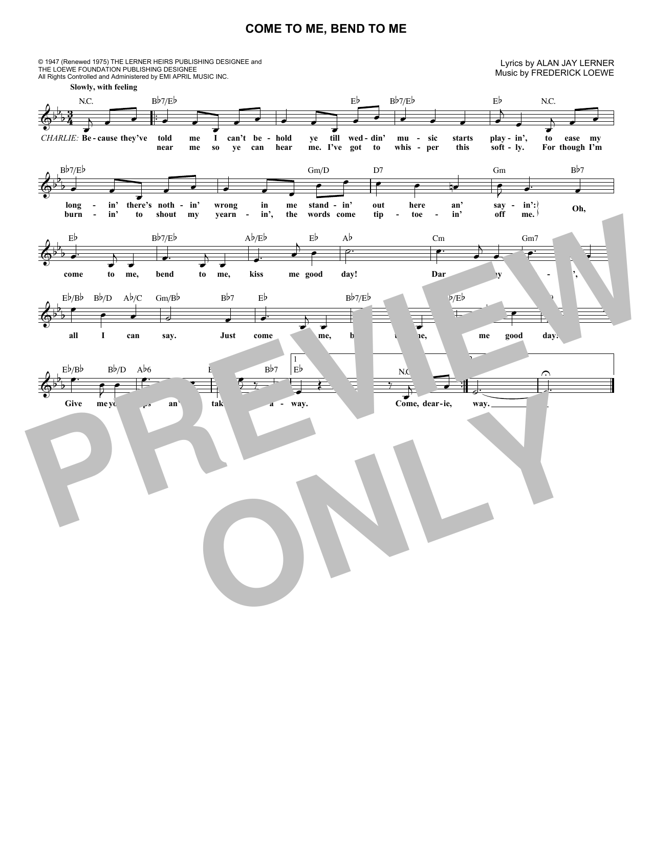 Come To Me, Bend To Me (Lead Sheet / Fake Book)