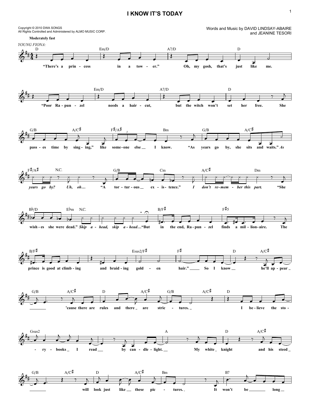 I Know It's Today (Lead Sheet / Fake Book)