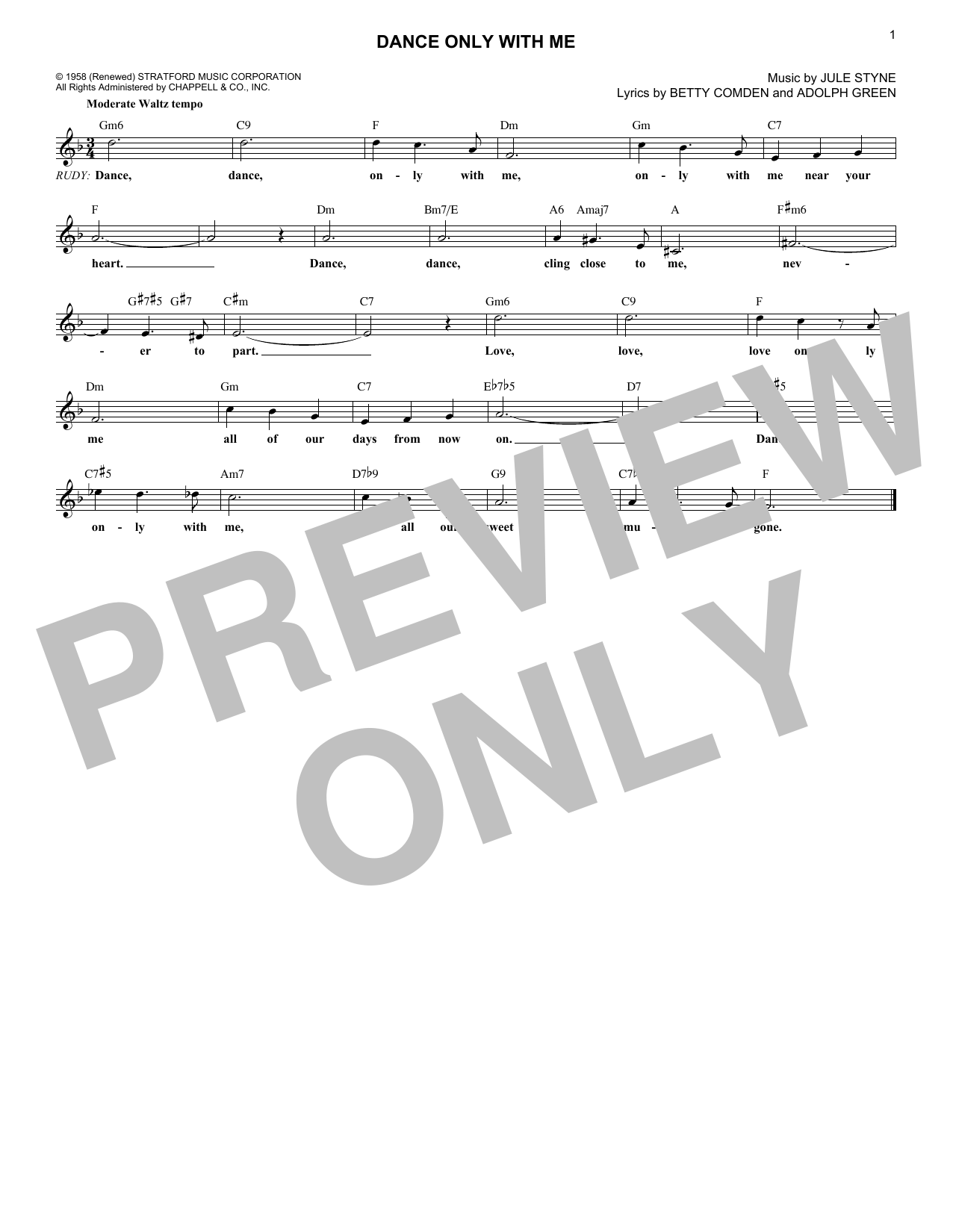 Dance Only With Me (Lead Sheet / Fake Book)