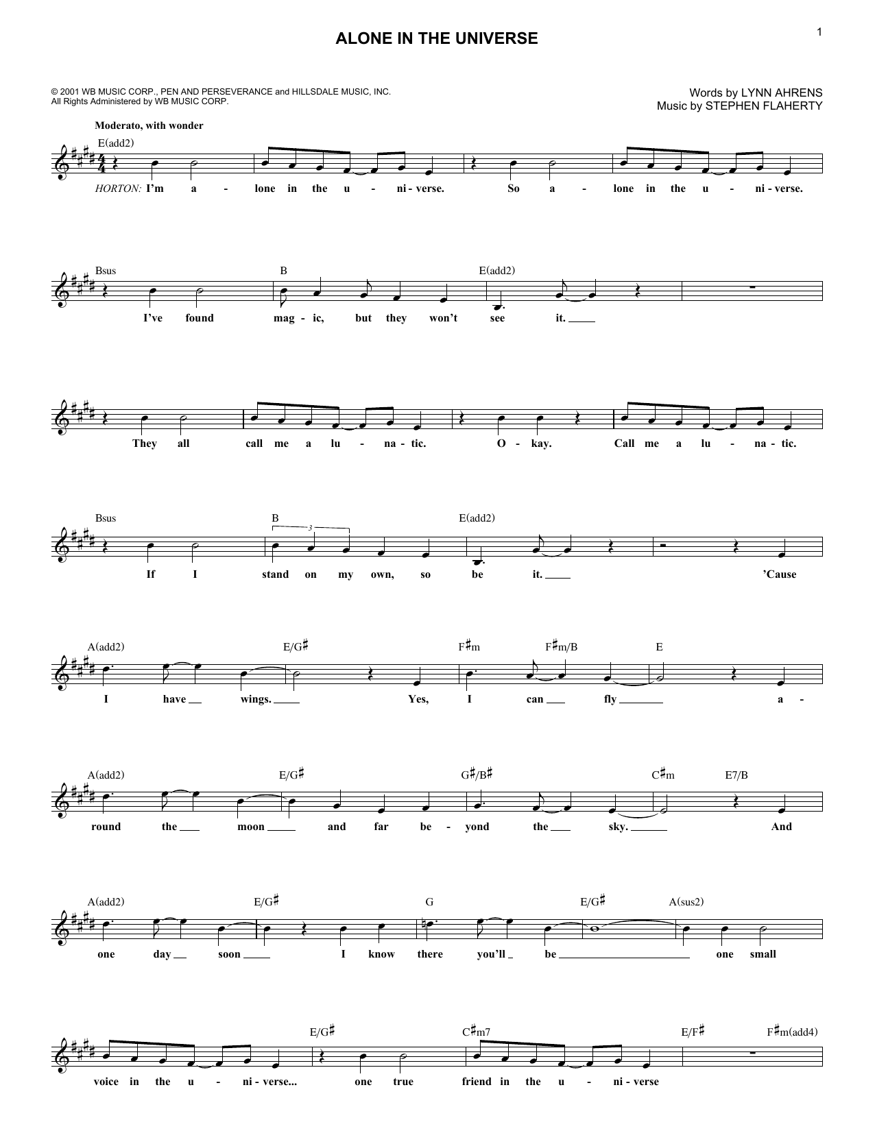 Alone In The Universe (Lead Sheet / Fake Book)