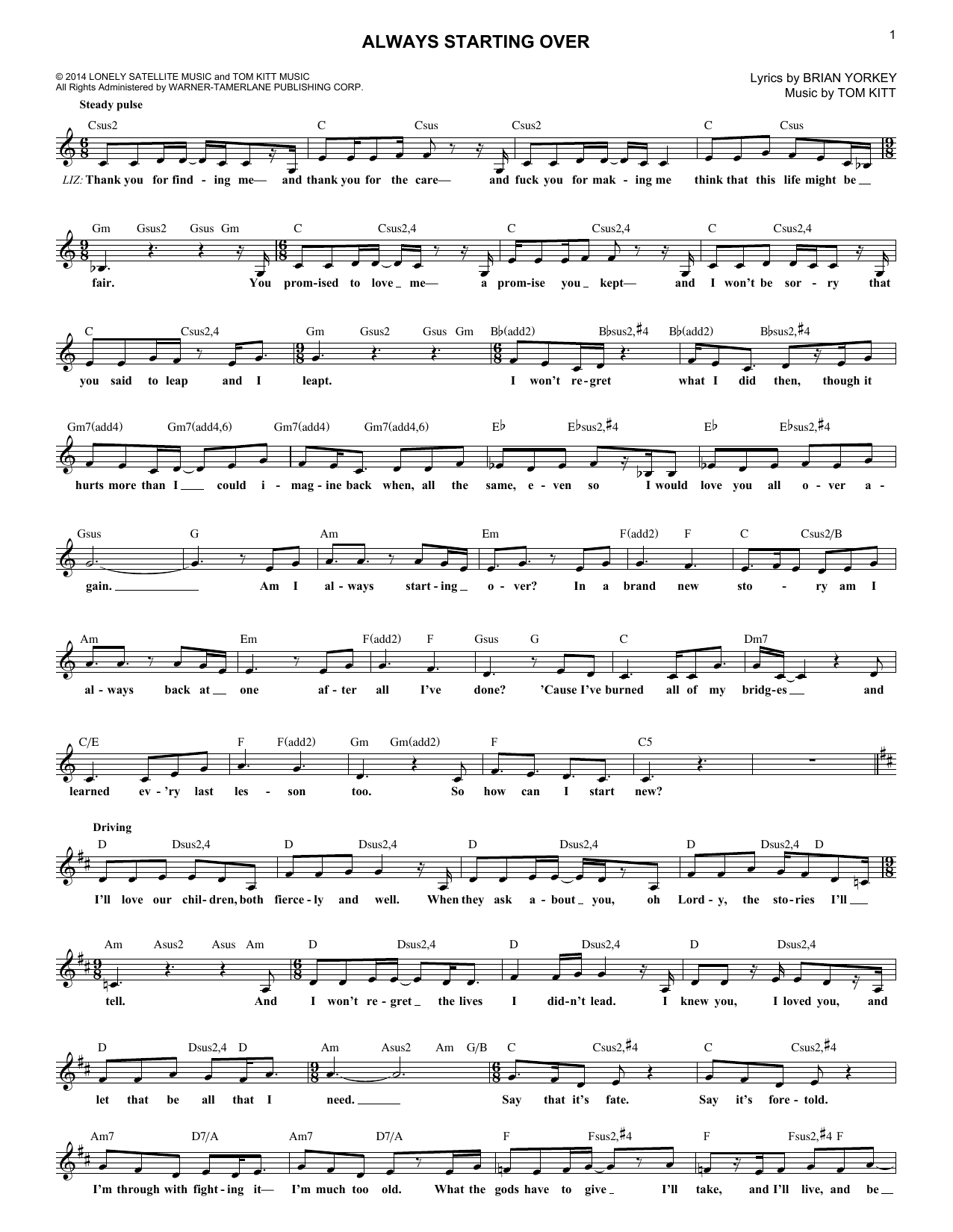 Always Starting Over (from If/Then: A New Musical) (Lead Sheet / Fake Book)