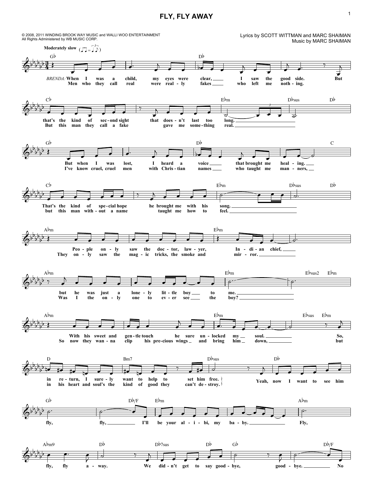 Fly, Fly Away (from Catch Me If You Can) (Lead Sheet / Fake Book)