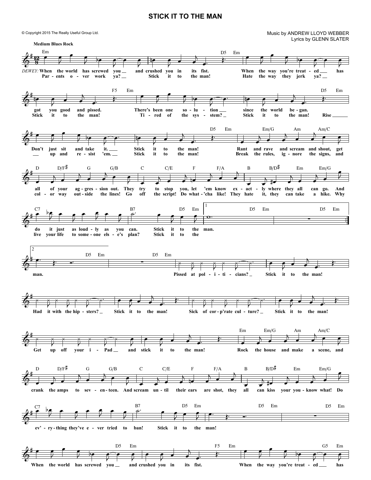 Stick It To The Man (from School of Rock: The Musical) (Lead Sheet / Fake Book)