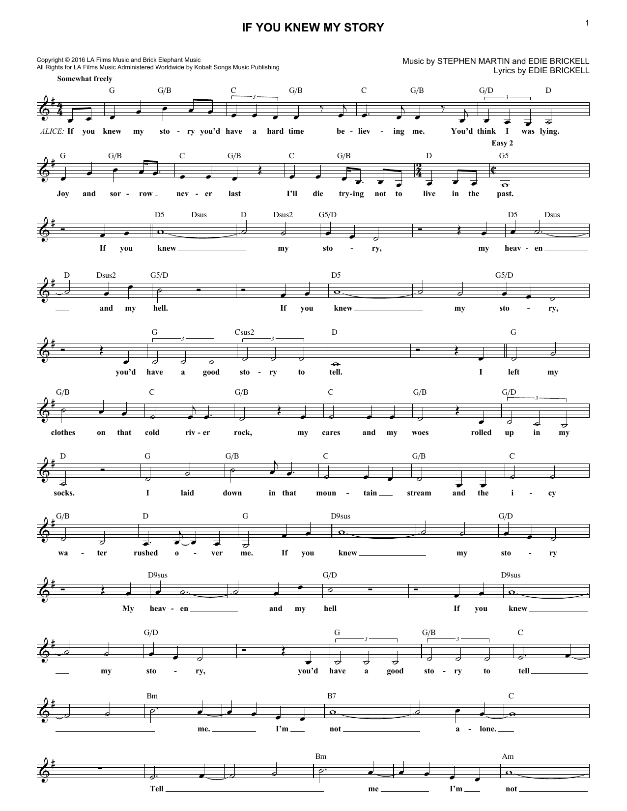 If You Knew My Story (Lead Sheet / Fake Book)