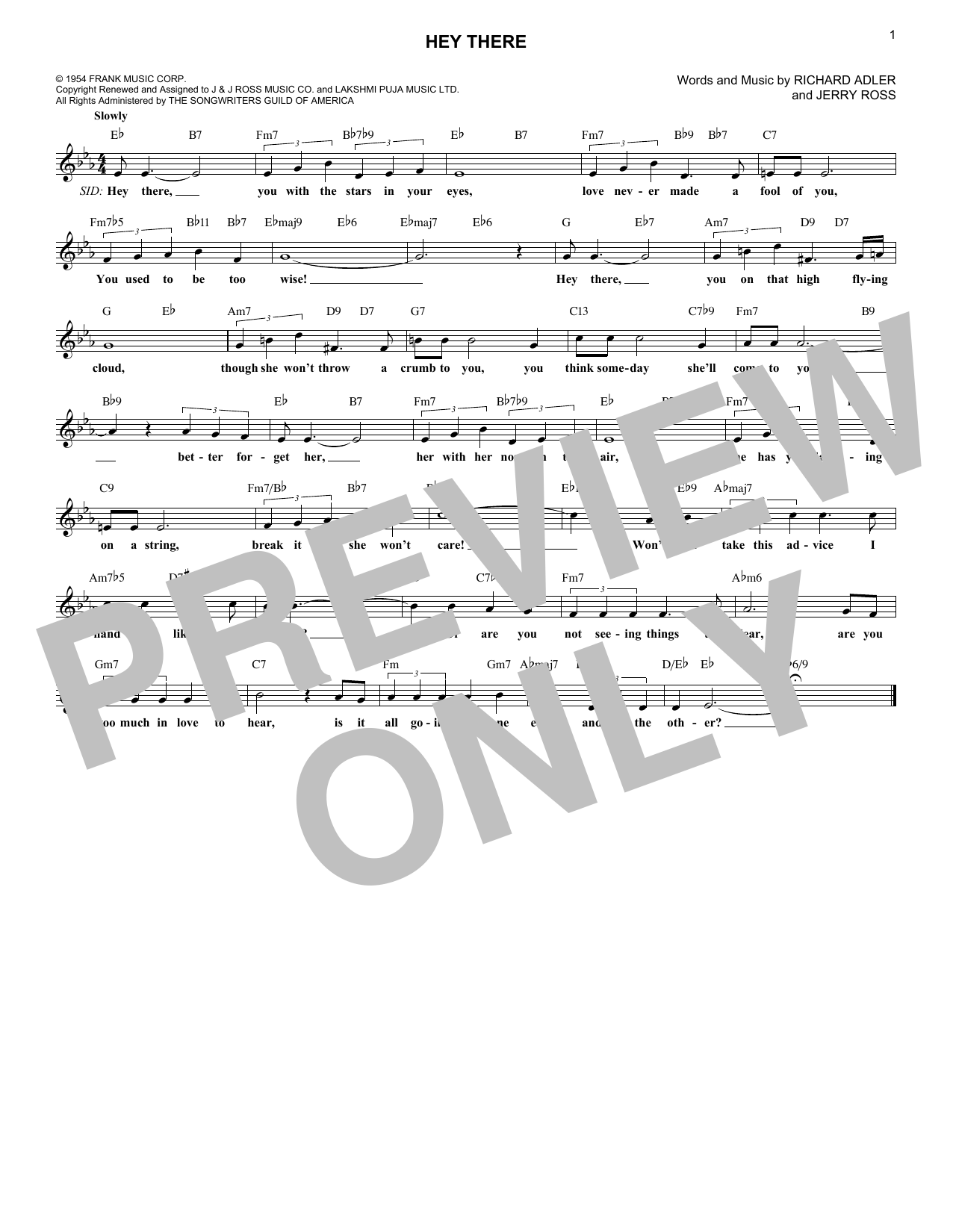 Hey There (Lead Sheet / Fake Book)