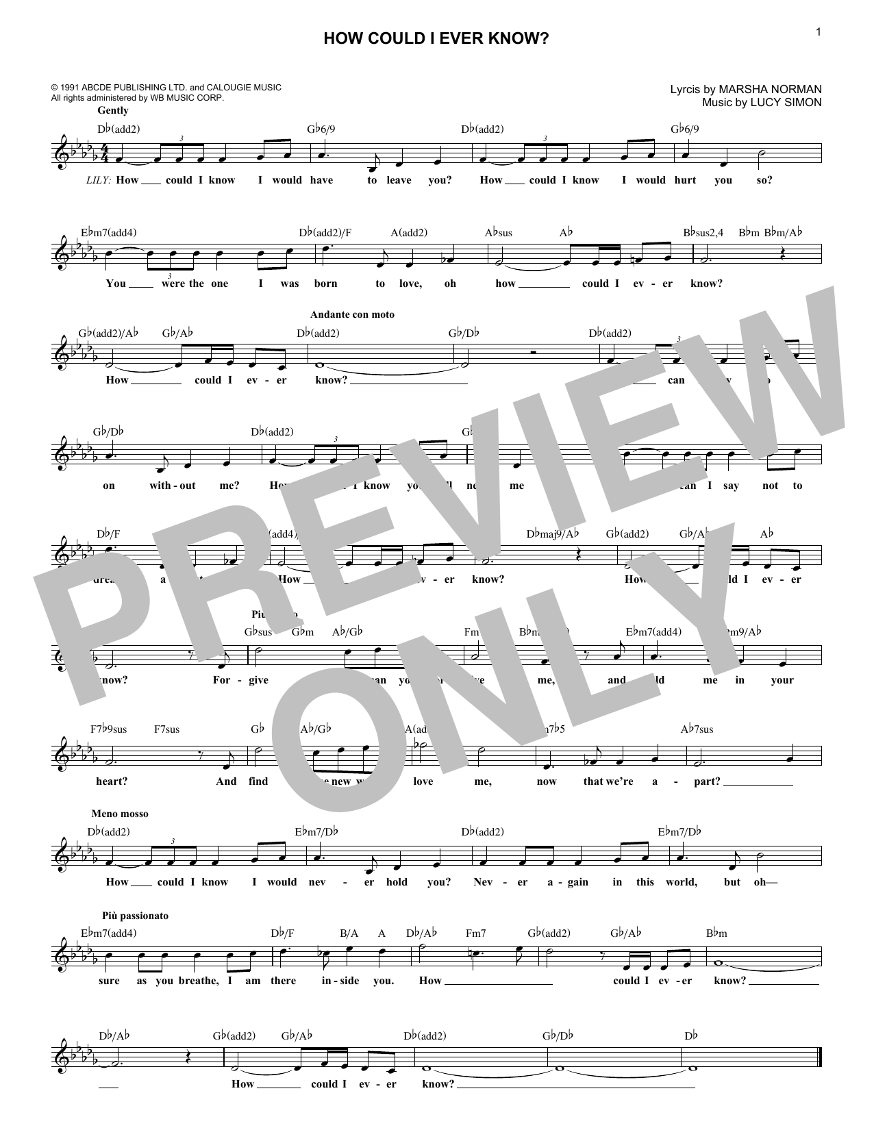 How Could I Ever Know? (Lead Sheet / Fake Book)