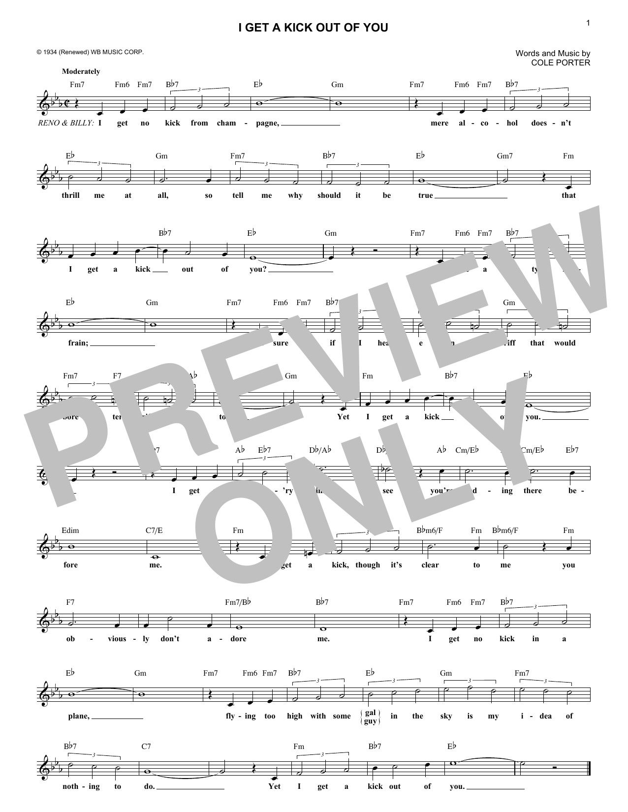 I Get A Kick Out Of You (Lead Sheet / Fake Book)