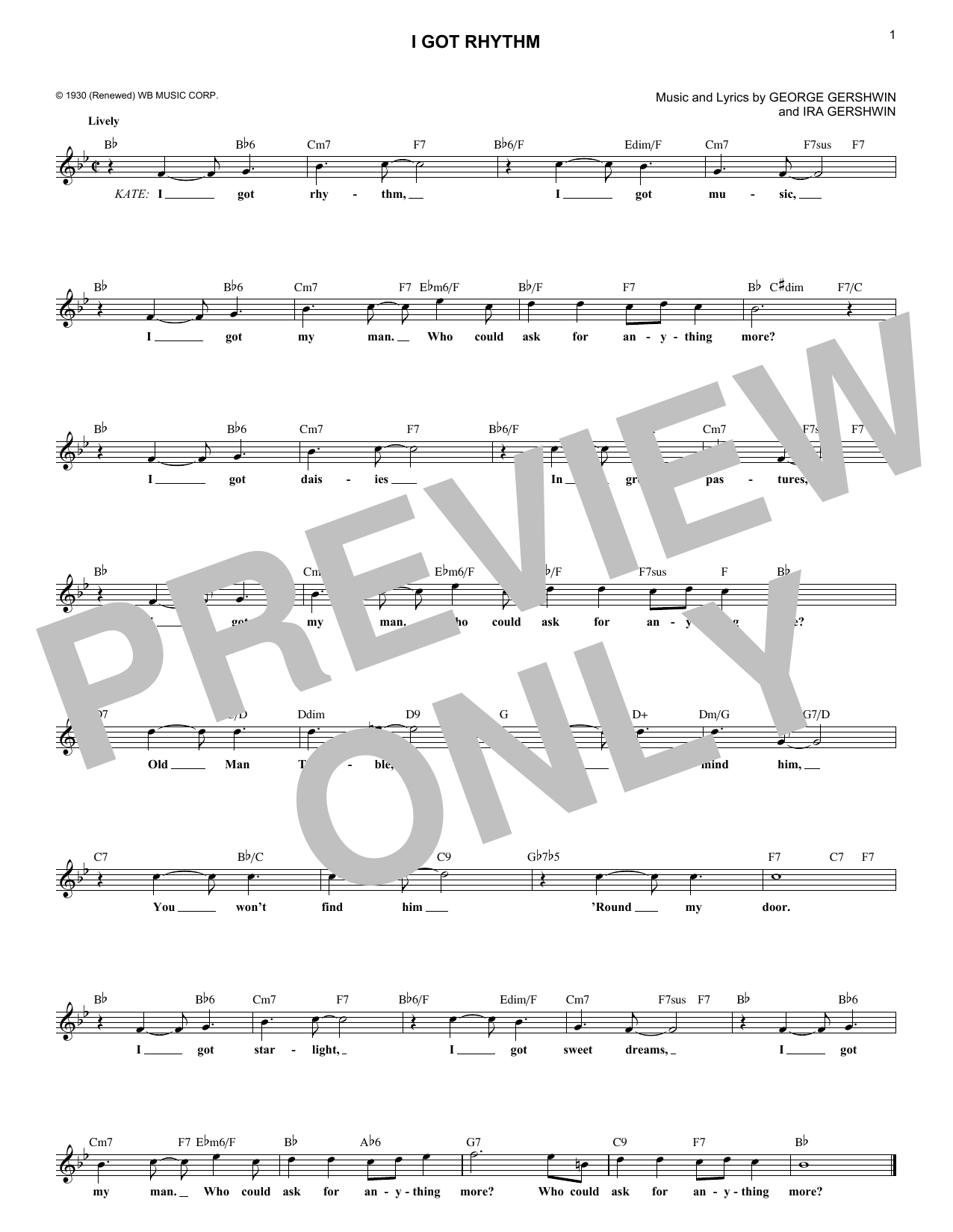 I Got Rhythm (Lead Sheet / Fake Book)
