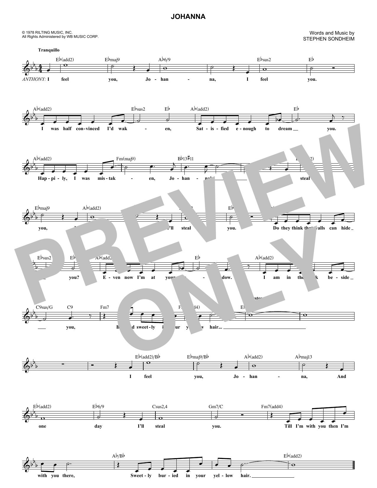 Johanna (Melody Line, Lyrics & Chords)
