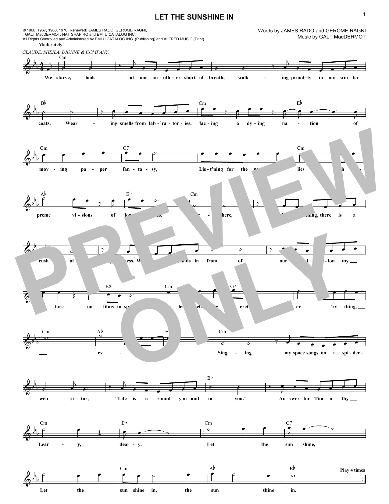 Let The Sunshine In (Lead Sheet / Fake Book)