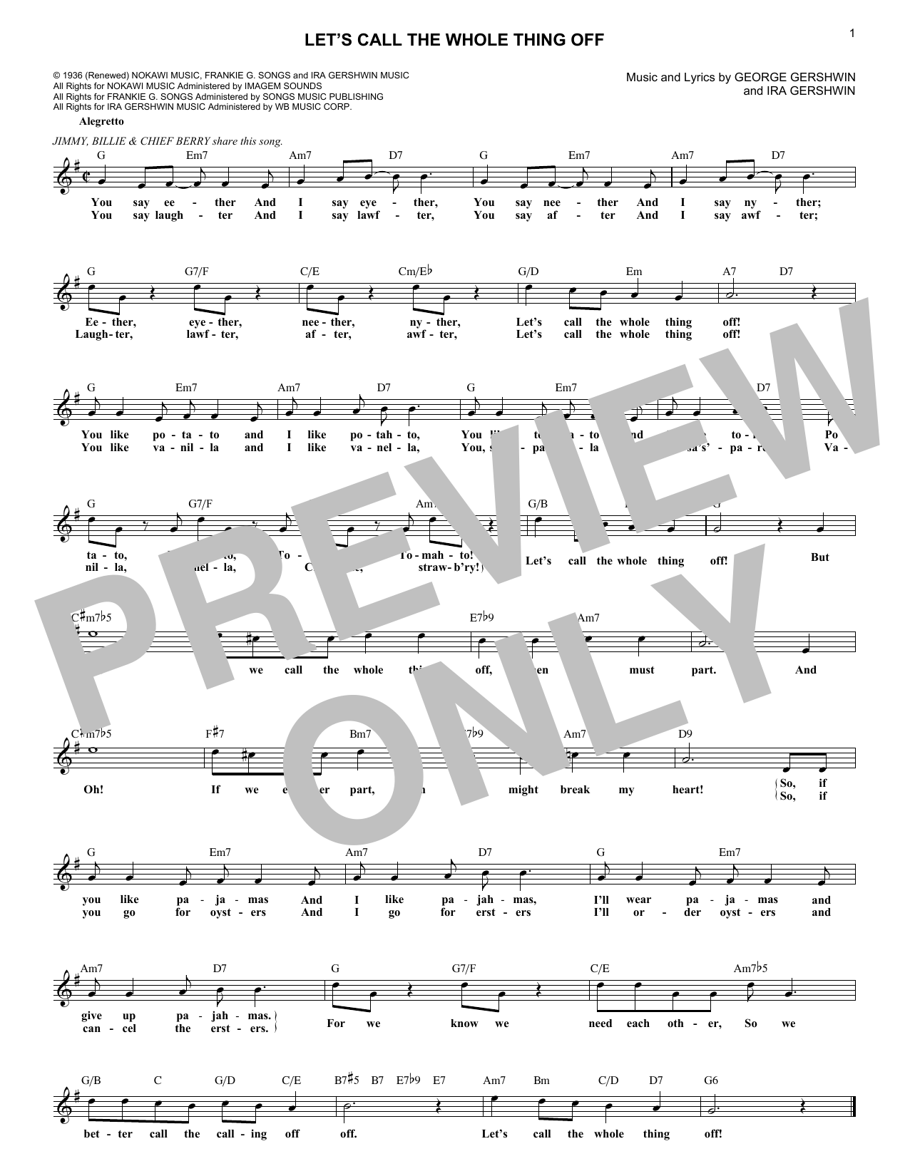 Let's Call The Whole Thing Off (Lead Sheet / Fake Book)