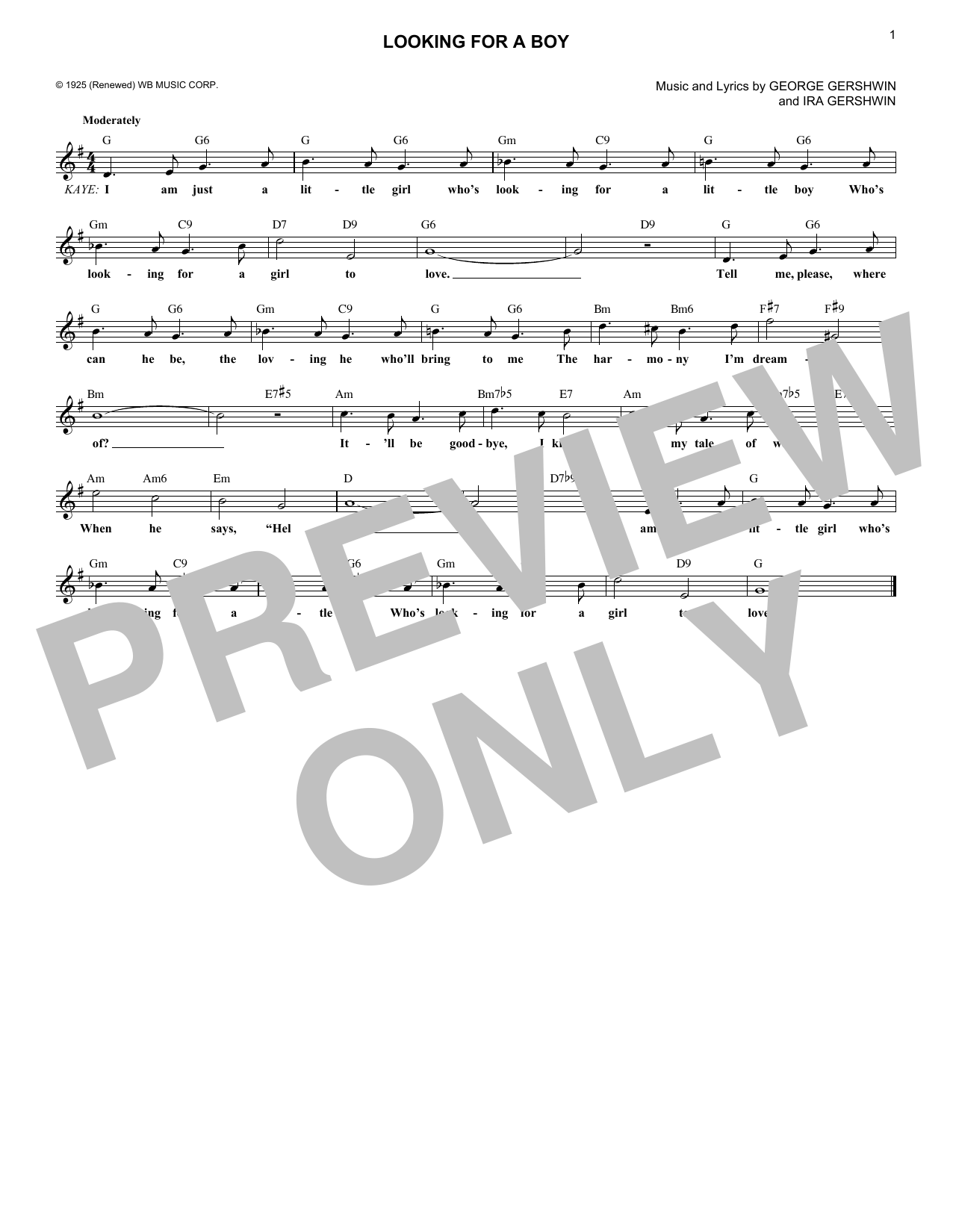 Looking For A Boy (Lead Sheet / Fake Book)