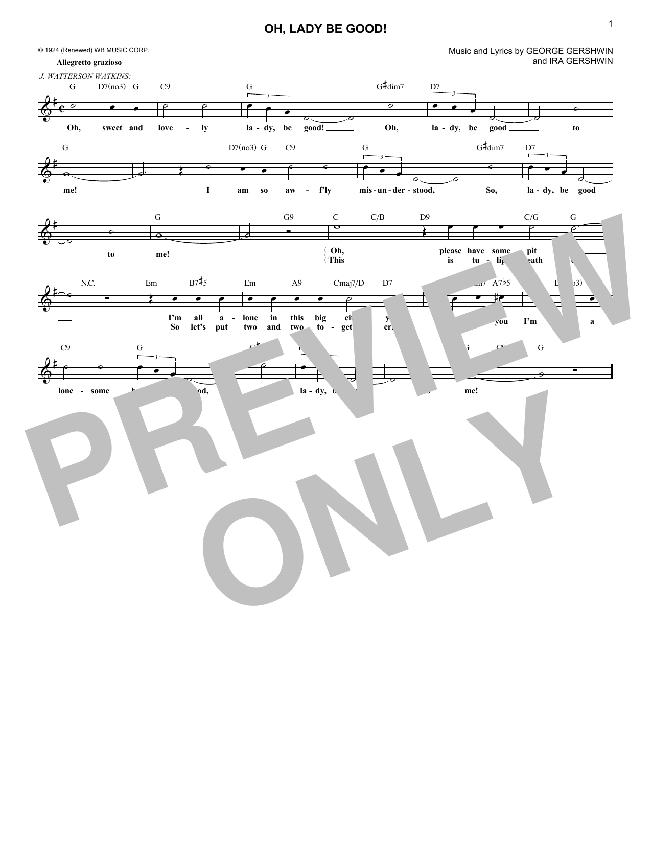 Oh, Lady Be Good! (Lead Sheet / Fake Book)