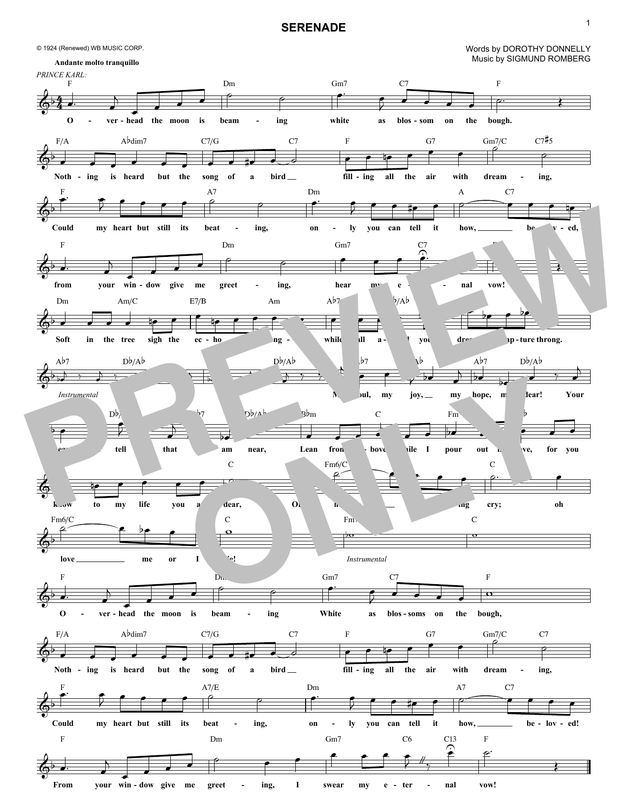 Serenade (from The Student Prince) (Lead Sheet / Fake Book)