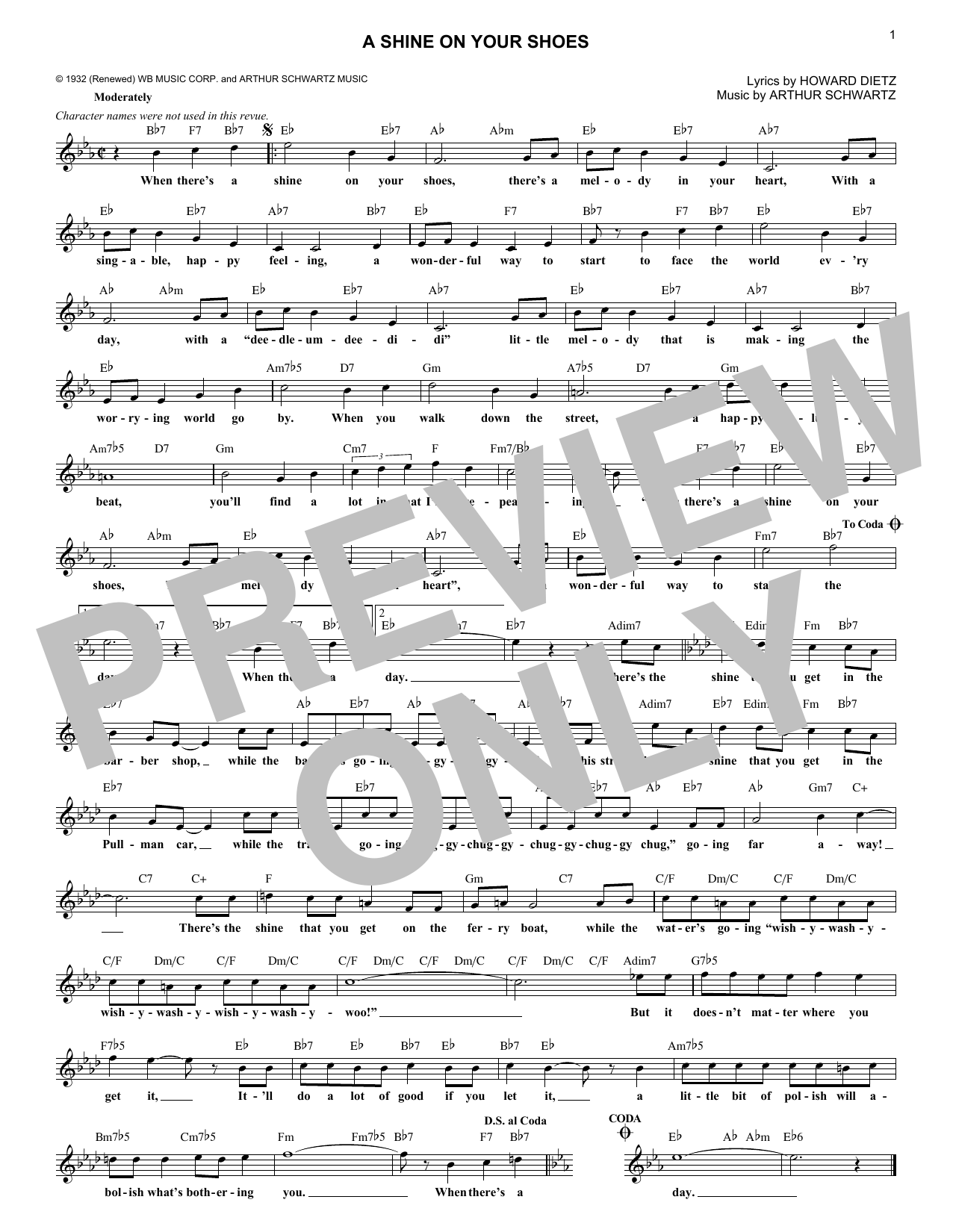 A Shine On Your Shoes (Melody Line, Lyrics & Chords)