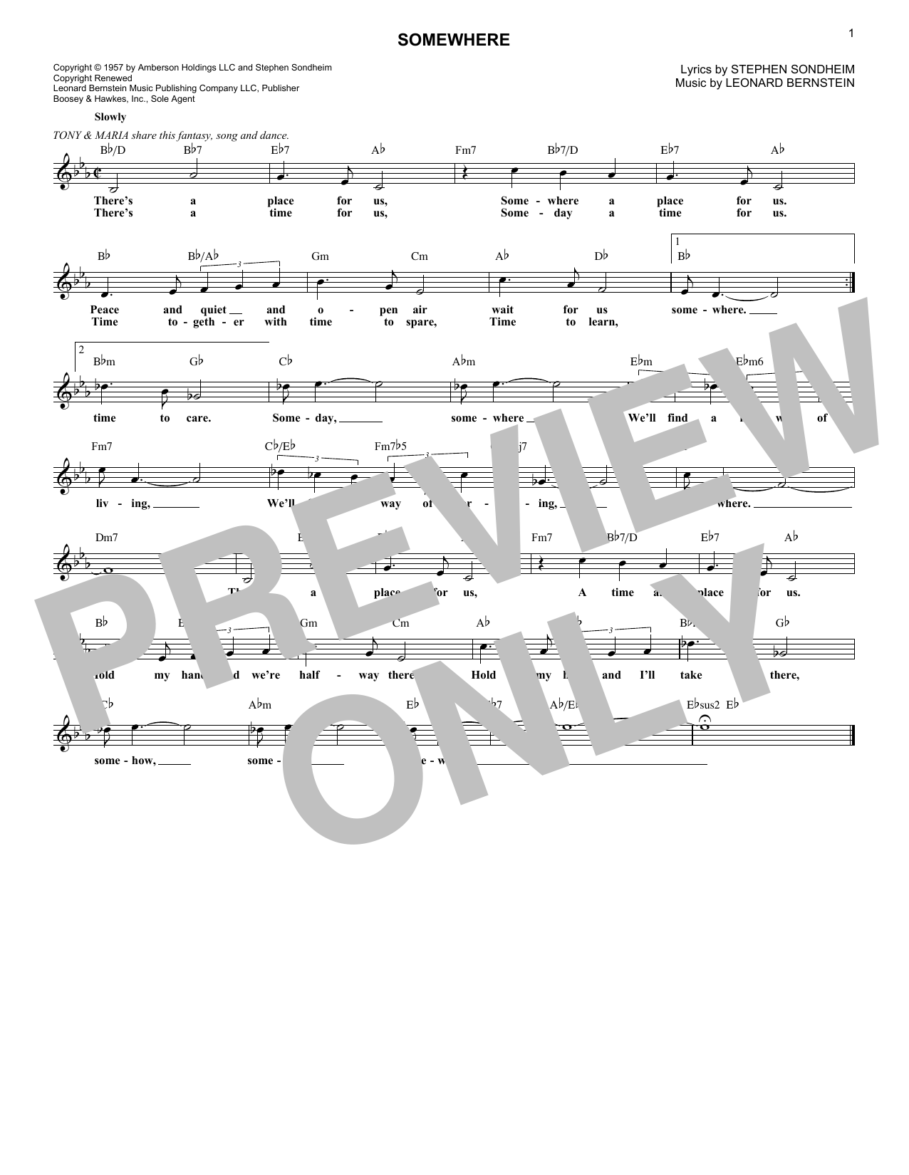 Somewhere (from West Side Story) (Lead Sheet / Fake Book)