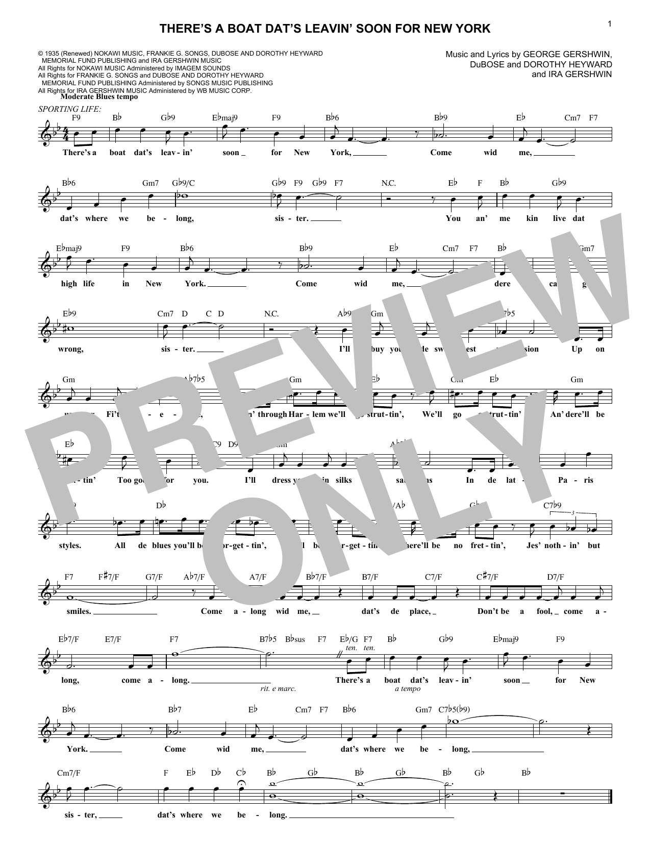 There's A Boat Dat's Leavin' Soon For New York (Lead Sheet / Fake Book)