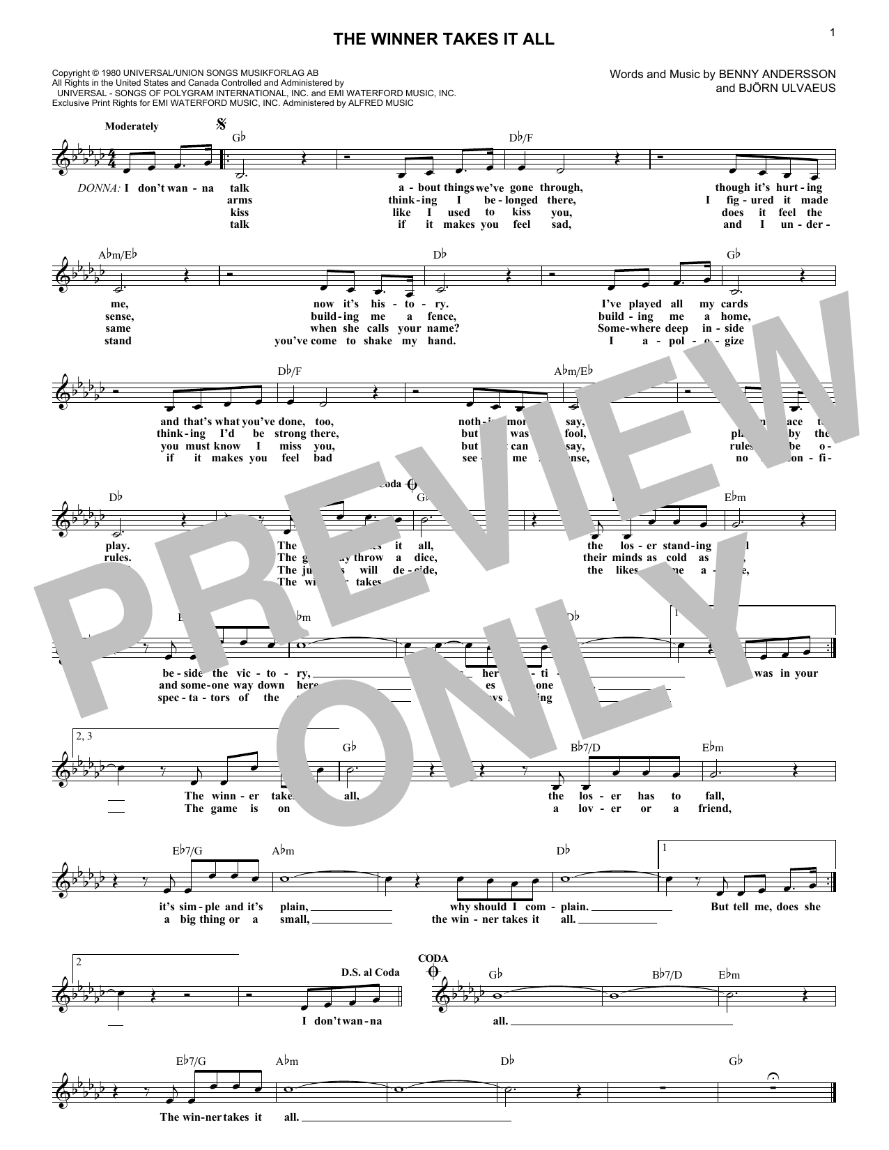 The Winner Takes It All (Lead Sheet / Fake Book)