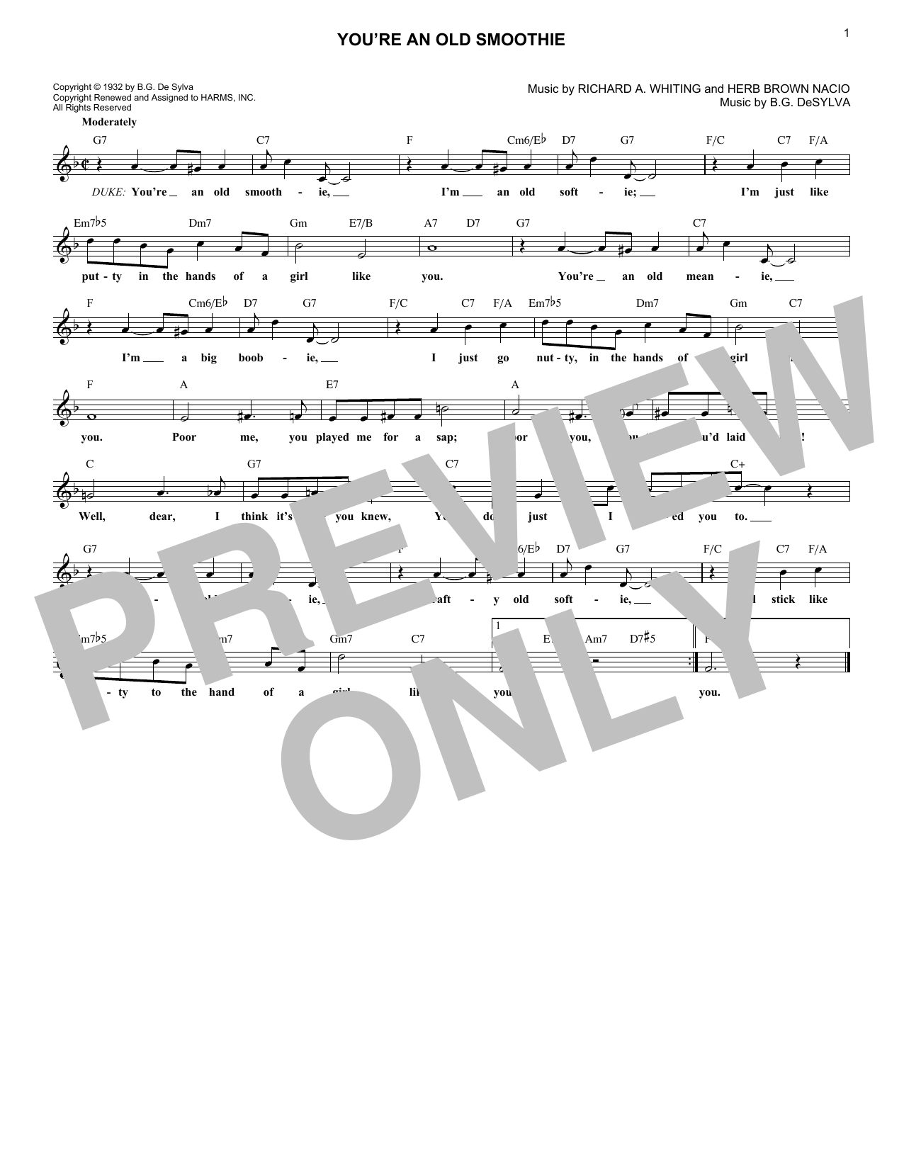 You're An Old Smoothie (Lead Sheet / Fake Book)