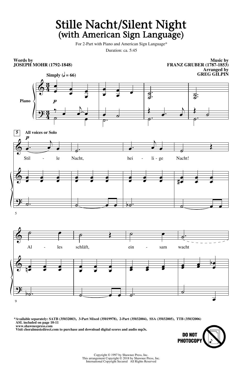 Stille Nacht/Silent Night (With American Sign Language) (arr. Greg Gilpin) (2-Part Choir)