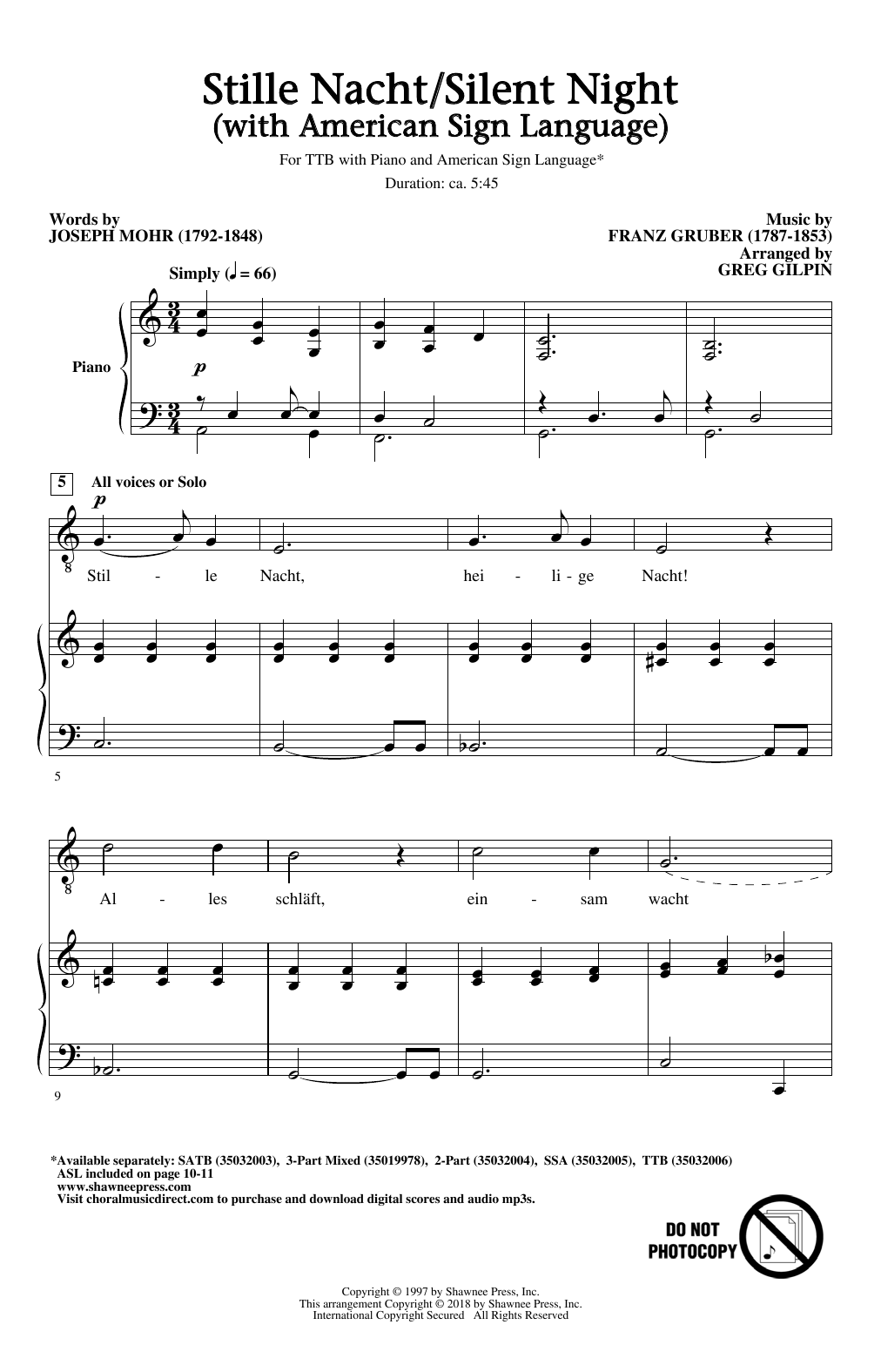 Stille Nacht/Silent Night (With American Sign Language) Sheet Music