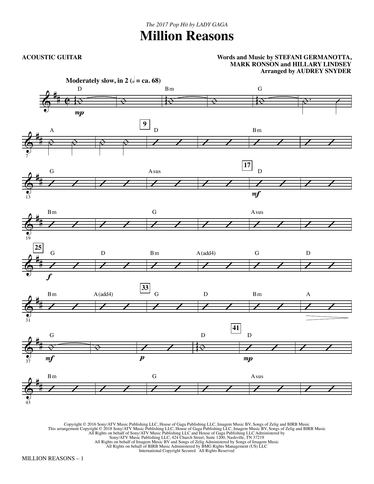 Million Reasons (arr. Audrey Snyder) - Acoustic Guitar (Choir Instrumental Pak)