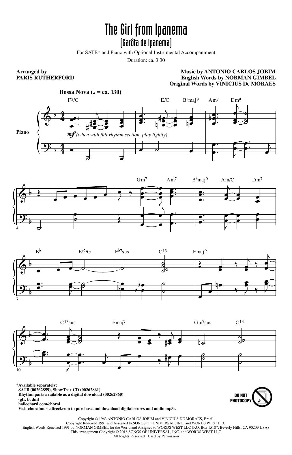 The Girl From Ipanema (Garota De Ipanema) (SATB Choir)