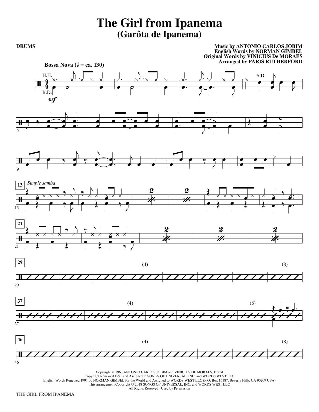 The Girl From Ipanema - Drums (Choir Instrumental Pak)