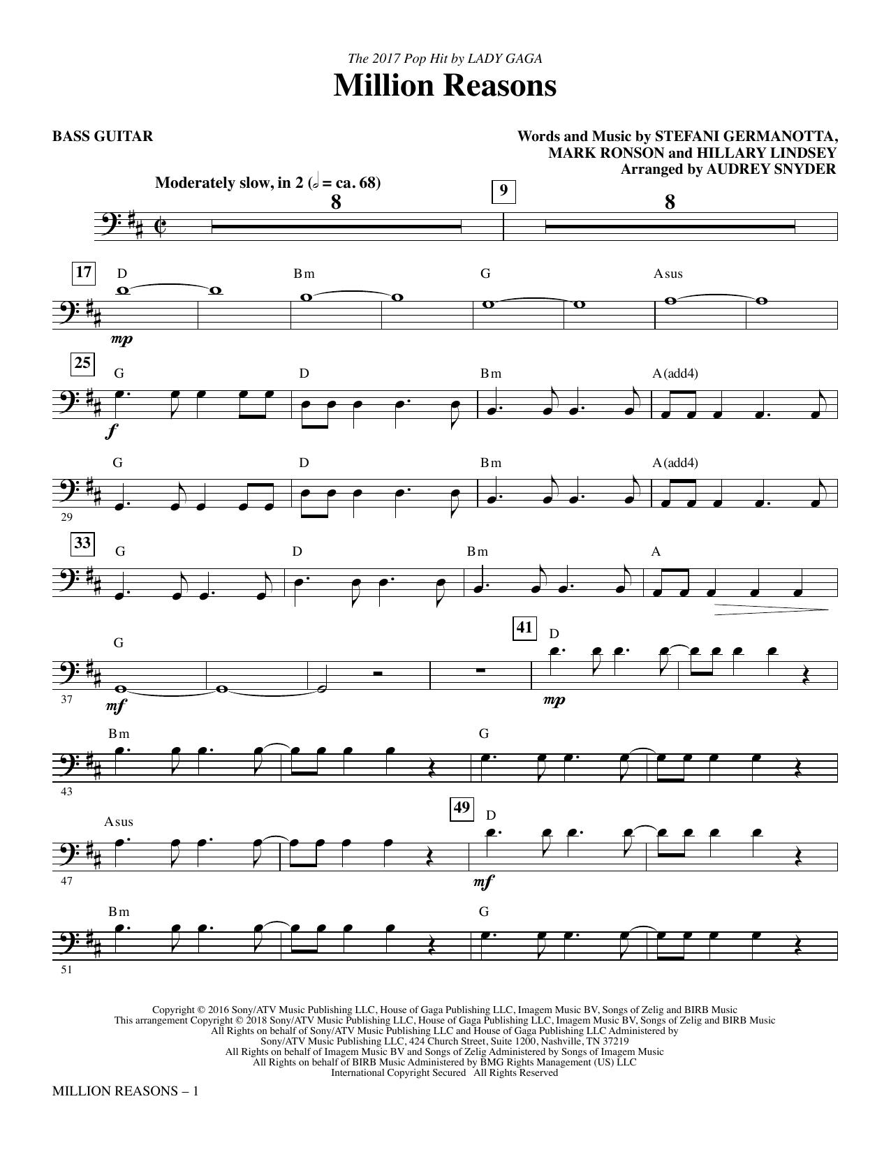 Million Reasons (arr. Audrey Snyder) - Bass (Choir Instrumental Pak)