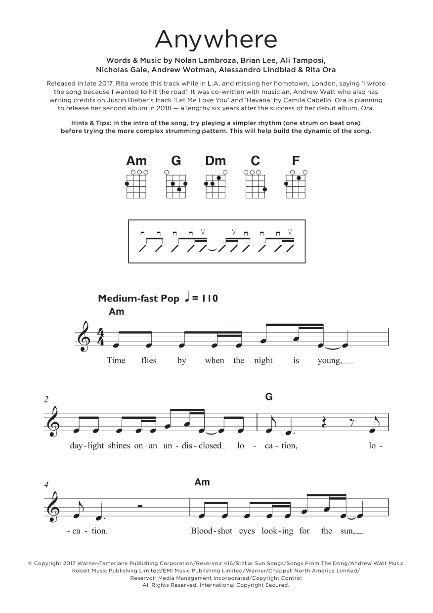 Anywhere Sheet Music