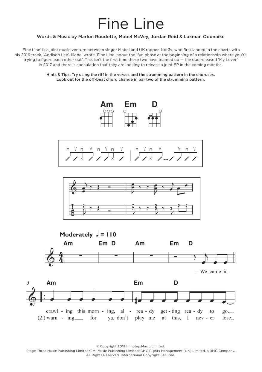 Fine Line (feat. Not3s) Sheet Music