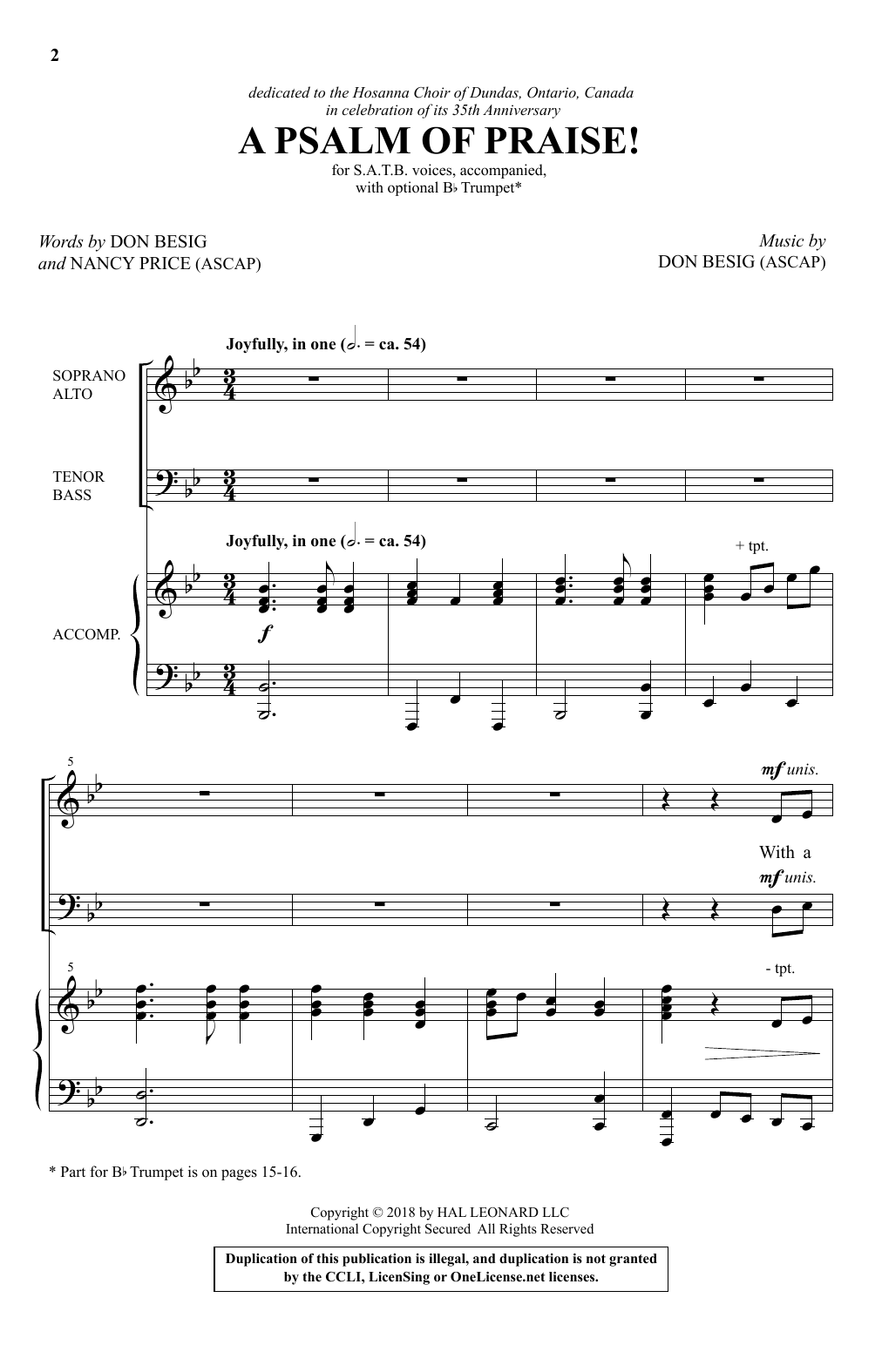 A Psalm Of Praise! Sheet Music