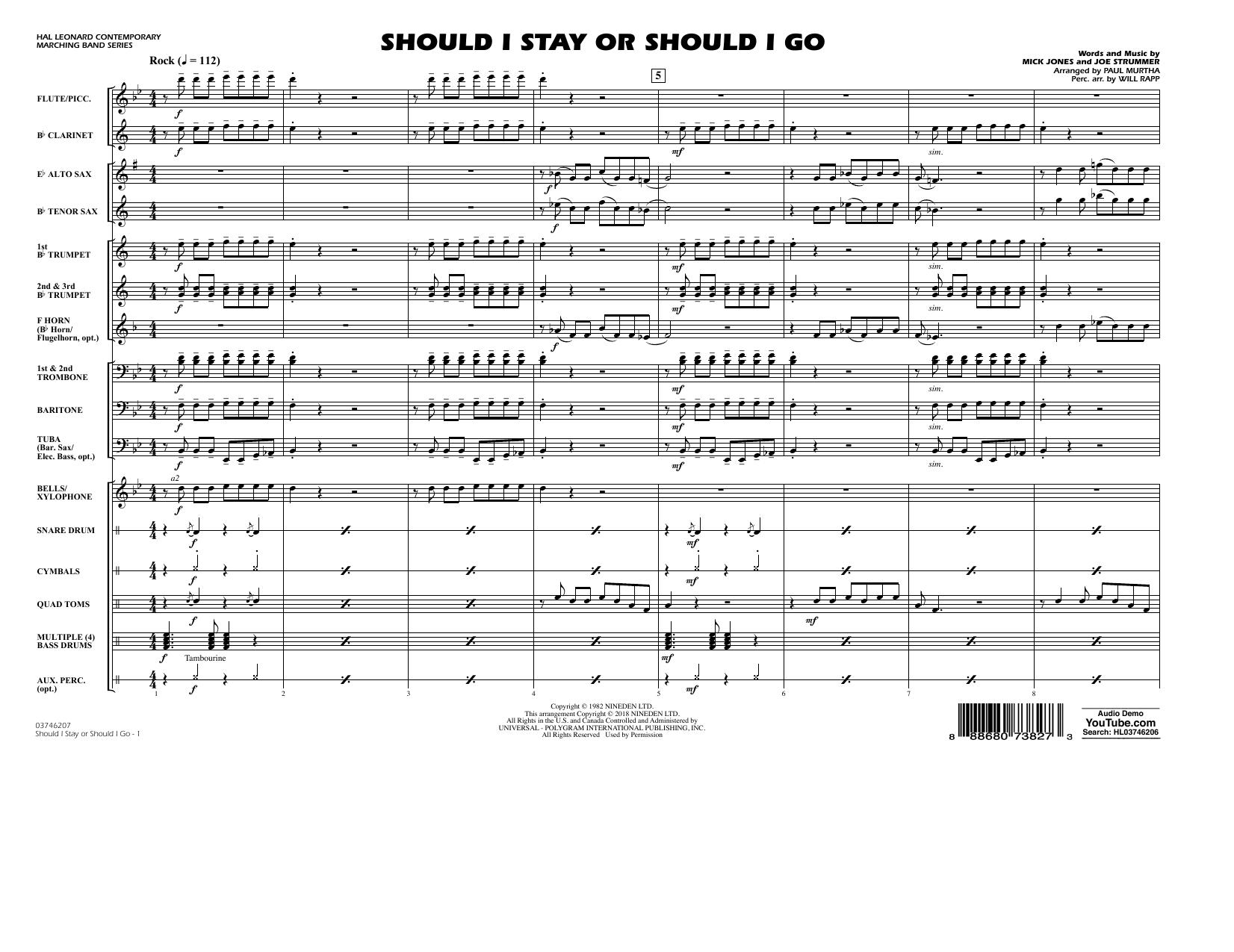 Partition autre Should I Stay Or Should I Go - Conductor Score (Full Score) de Paul Murtha - Orchestre d'harmonie