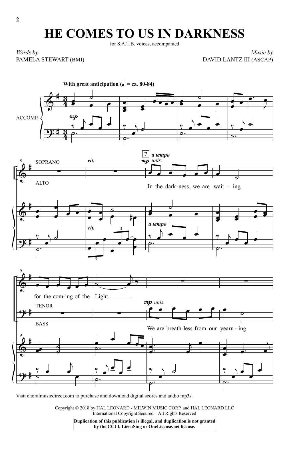He Comes To Us In Darkness Sheet Music