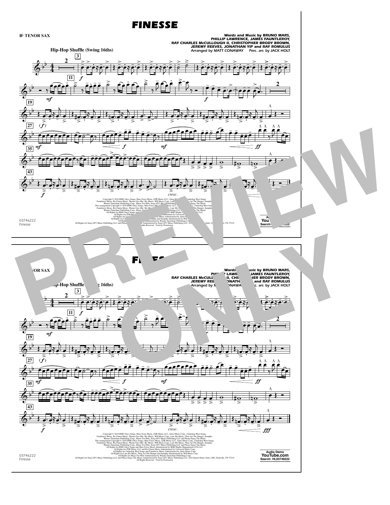 Partition autre Finesse - Bb Tenor Sax de Matt Conaway - Orchestre d'harmonie