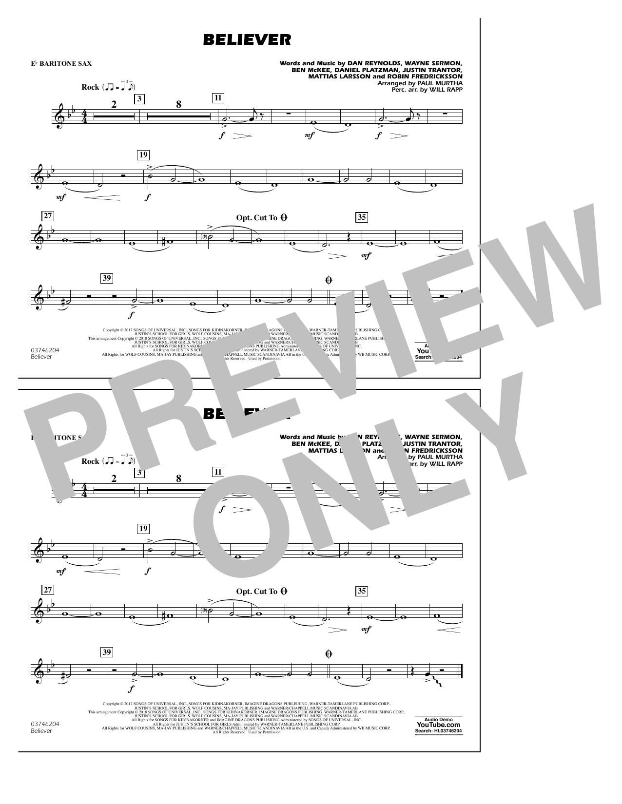 Partition autre Believer - Eb Baritone Sax de Paul Murtha - Orchestre d'harmonie