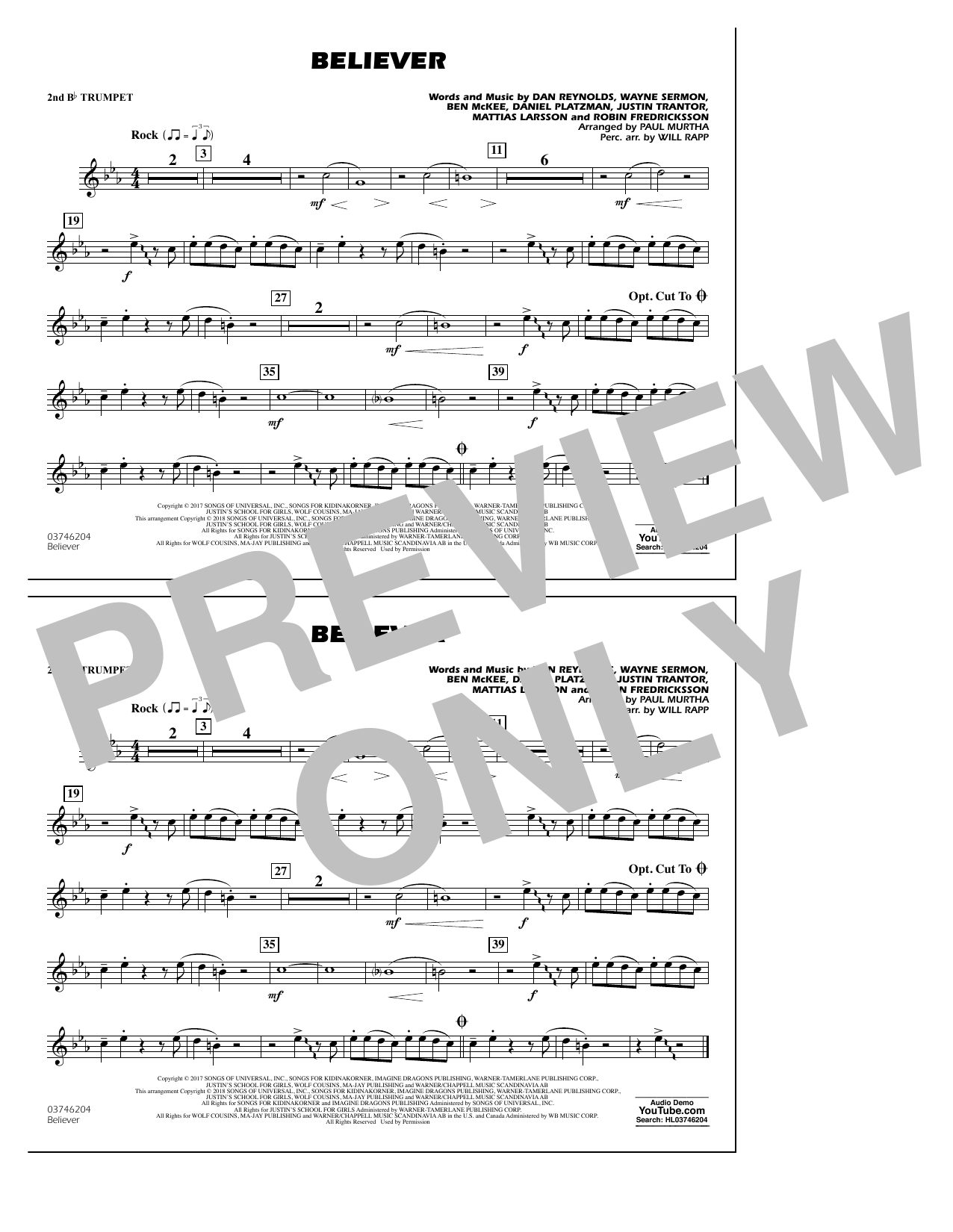 Believer - 2nd Bb Trumpet - Sheet Music to Download