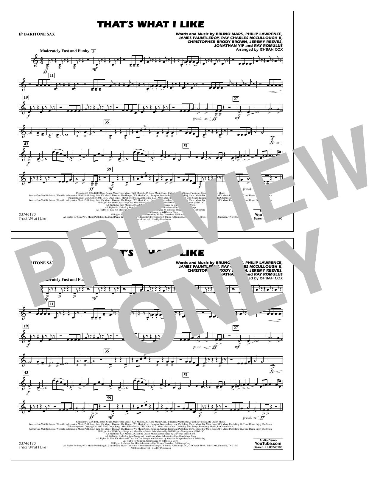 Partition autre That's What I Like - Eb Baritone Sax de Ishbah Cox - Orchestre d'harmonie
