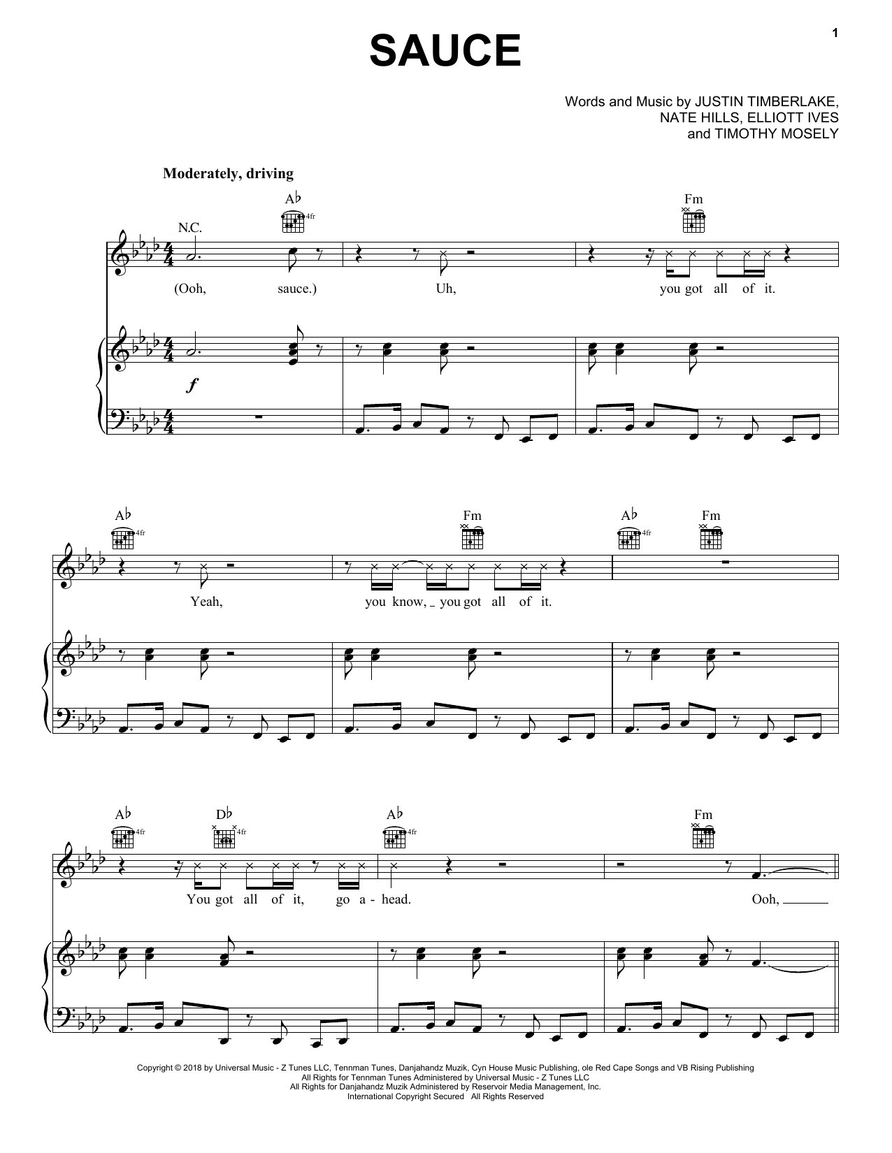 Sauce (Piano, Vocal & Guitar (Right-Hand Melody))