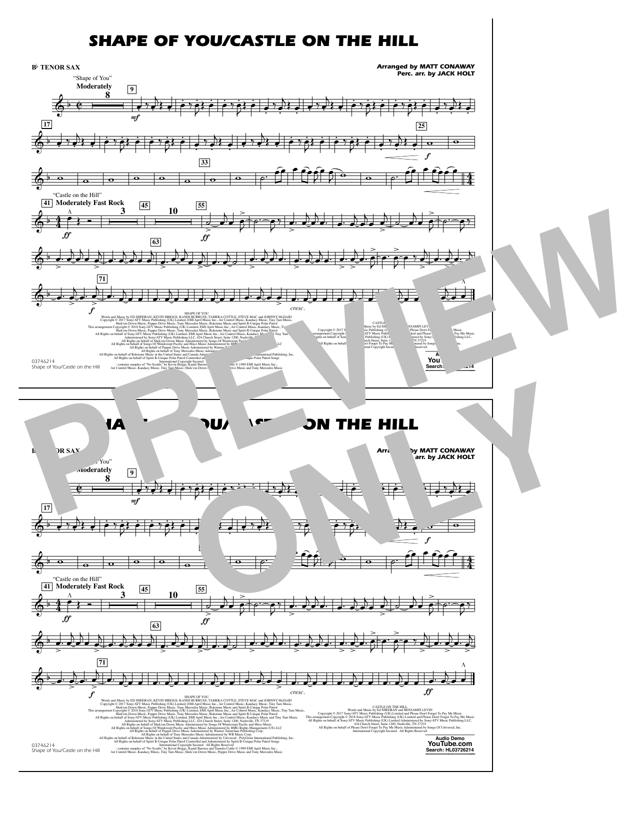 Shape Of You/Castle On The Hill - Bb Tenor Sax (Marching Band)