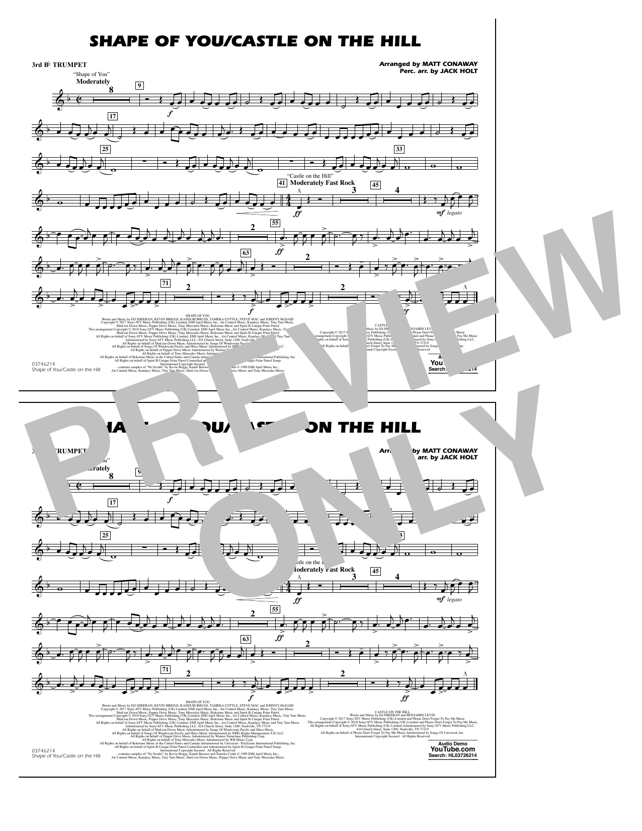 Shape Of You/Castle On The Hill - 3rd Bb Trumpet (Marching Band)