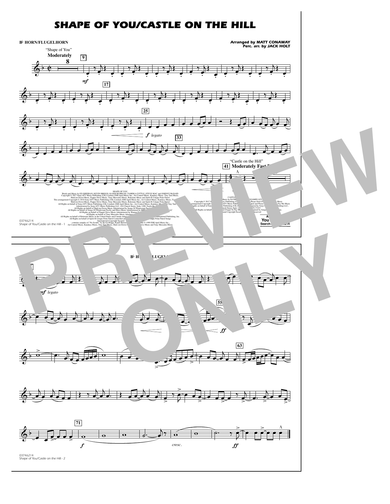 Shape Of You/Castle On The Hill - Bb Horn/Flugelhorn (Marching Band)